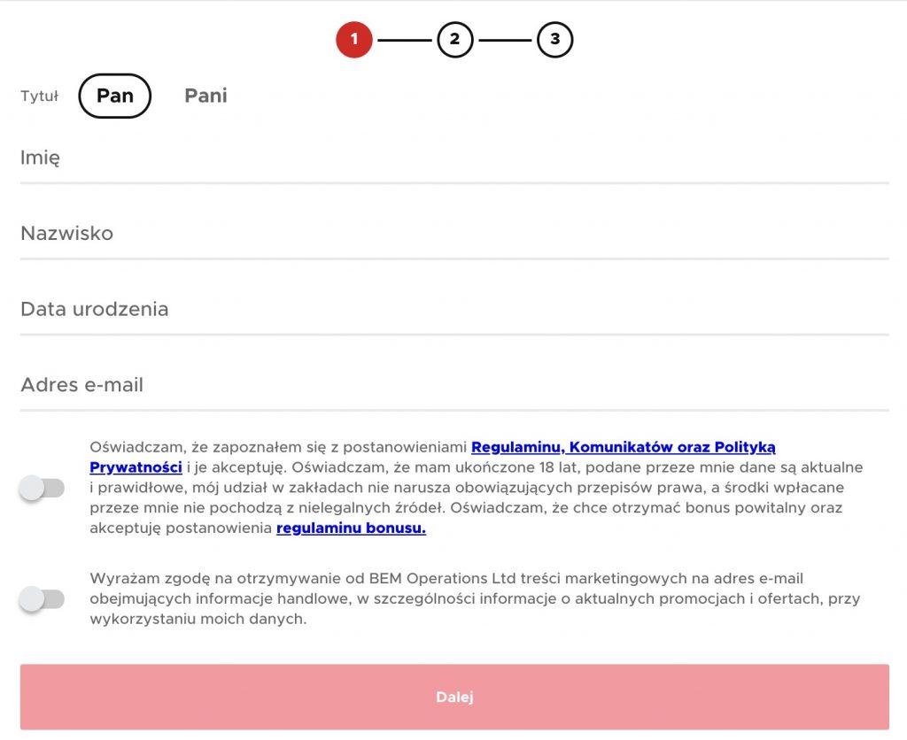 Betclic rejestracja konta a kod promocyjny KOD550